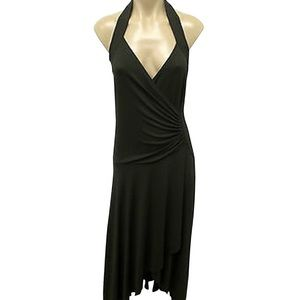 Michael Kors Halter Dress Ruched Maxi Brown Size 6
